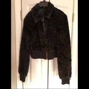 Guess black faux fur zip up jacket